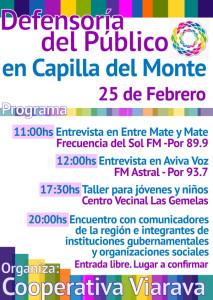 Programa de las actividades de la Defensoría del Público en Capilla del Monte
