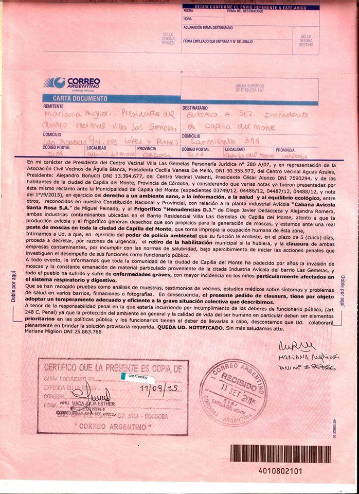 Carta documento 02 Capilla sin moscas