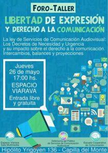 Afiche taller abierto Defensoría del público comprimido