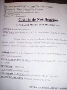 cédula de notificación Pablo Solis